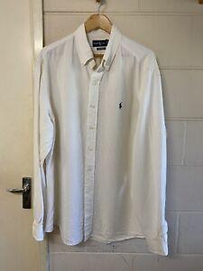 Ralph Lauren White Linen Silk Casual Shirt Herringbone Size XXL Custom Fit Class