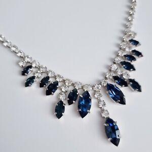 Art Deco Revival Faux Sapphire Blue Clear Rhinestone Crystal Bib Necklace Hook