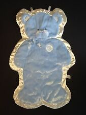 Baby Gund Blue white My First Teddy Bear Cuddlehugs 58877 Satin hanging Blanket