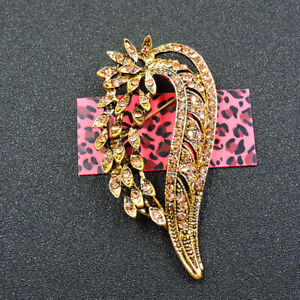 New Betsey Johnson Fashion Gold Exquisite Wings Crystal Charm Brooch Pin