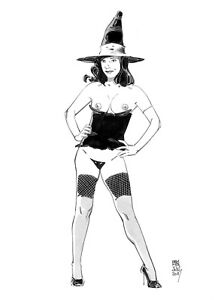 Sexy Witch fantasy pin up original  art  by Paradis
