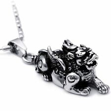Stainless Steel PI XIU Money Guard Wild Animal Pendant Cool Necklace Brave Troop