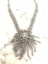 Charming Charlie RSVP Necklace Silver Plated Rhinestone Cluster Choker