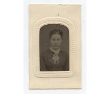 Tintype Studio Portrait Pretty Lady W/ Scarf, 1/16 Plate, Period Mat