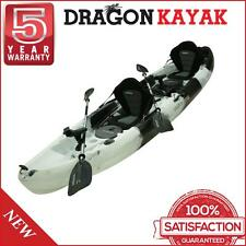 Family Kayak 2.5 Persons Dragon Double Twin Fishing Kayak 3.7M - Black And White