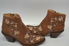 Shyanne Brown ANKLE LEATHER 8 M Western FLORAL EMBROIDERED WESTERN Boot BOOTIE