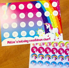 Personalised holiday countdown / reward chart with 24 stickers - 'Unicorns'