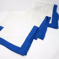 Lynn Chase Set of Four Blue Bordered White 100% Linen Napkins