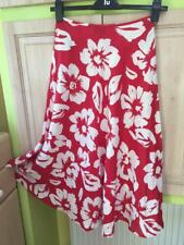 HOBBS Beautiful red & white floral flowers flared skirt 8 size  100 % linen NEW