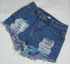 LITZ WOMENS SIZE 26 DISTRESSED BLUE DENIM JEAN SHORTS FLORAL POCKETS