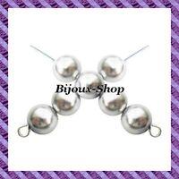 lot de 50 perles de Bohême en verre nacré 10mm coloris Gris argent