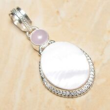 """Mother of Pearl Abalone Sea Shell 925 Sterling Silver Pendant 2"""" #P17100"""