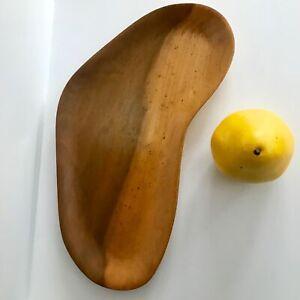 "12"" Vintage  Asymmetric Boomerang Shape Retro Aged Blonde Wood Dresser Tray"