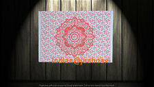 """30"""" X 40"""" Indian Red Ombre Lotus Mandala Cotton Wall Hanging Tapestry Poster"""