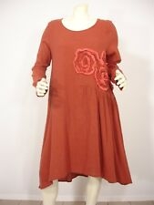 NWT PECOCK DESIGN LINEN BLEND BRICK FLORAL APPLIQUE DRESS WOMEN'S M $162.00