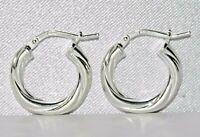 STERLING SILVER (925) LADIES TWISTED HOOP CREOLE EARRINGS ~