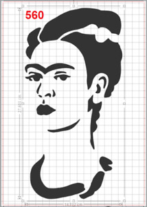 Frida Kahlo Portrait Stencil MYLAR A4 sheet strong reusable wall craft art deco