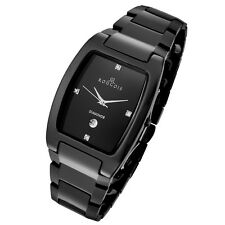 Rougois Men's High-Tech Black Ceramic Watch with Genuine Diamonds 61062GB