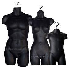Male Female & Child Mannequin Torso Set (3 pcs- Black) Dress Form w/Hangers