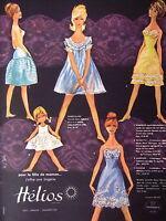 PUBLICITÉ 1960 HÉLIOS BAS LINGERIES EN NYLON NYLFRANCE POUR LA FÊTE DES MÈRES