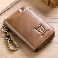 Genuine Leather Key Case RFID Blocking Card Holder Coin Purse Keychain Wallet