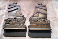 Vintage Chinese Junk SHIP Brass Folding Bookends Book Ends Pair