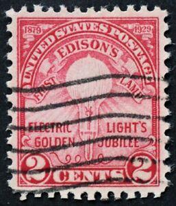 U.S. Used #654 2c Edison, Superb. Wave Cancel. A Gem!