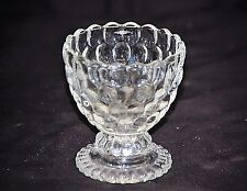 Old Vintage Ovalique by Avon Footed Small Candleholder Clear Raised Bubble Shelf