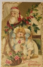 Vintage 1909 Postcard Inset Santa With 2 Cute Little Girls, Roses & Holly