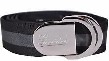 New Gucci Men's 189812 Black Grey Web Stripe Engraved Buckle Logo Belt 38 95