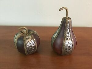 Wood and Metal Apple & Pear - Decorative / Paperweight