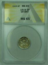 1919 Great Britain 3P Pence ANACS MS-65