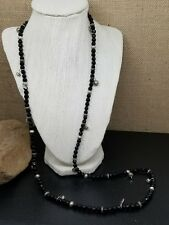 Express Long Black Faceted Bead Necklace With Silver Tone Charm Accents 34""