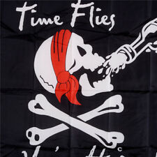 90*150cm Skull Jolly Roger Pirate Flags The Time Flies Halloween Decor Gift BH