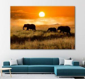 Family Elephant   Beautiful Sunset   Printable Canvas Painting Print Unframed