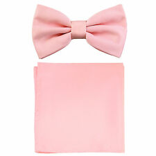 New formal men's pre tied Bow tie & Pocket Square Hankie solid pink wedding