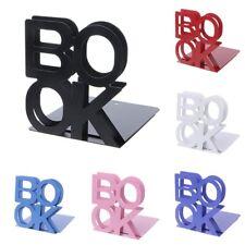 Alphabet Shaped Metal Bookends Iron Support Holder Books Desk Stand Design Art