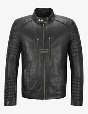 Mens Genuine Leather Jacket Black Racer Casual Biker Fashion Leather Jacket 7505