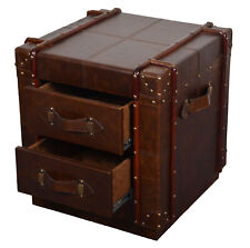 Handmade Vintage Antique Leather Designer Bedside with 2 Drawer