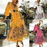 UK Womens Long Sleeve Casual Baggy Dress Floral Holiday Beach Tunic Maxi Dresses