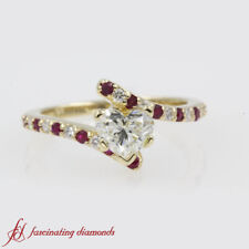 3/4 Carat Heart Shape Diamond And Ruby Bypass Engagement Ring In 14k Yellow Gold