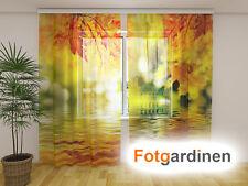"""Fotogardinen aus Chiffon """"Herbst"""" Vorhang mit Motiv, Fotodruck, auf Maß"""