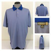 Peter Millar E4 Summer Comfort Mens XL Golf Polo Blue White Striped Shirt
