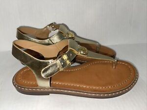 NEW TOMMY HILFIGER Woman's Leather Sandals Shoes Gold sz 6.5