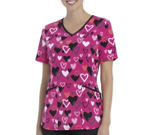 ScrubStar Women's Large Charming Hearts V-neck Nurse Medical Scrub Top NWT