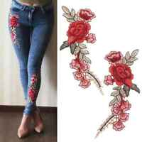 DIY Rose Flower Embroidered Patches Sew On Patch Applique For Jeans Pants 1 Pair