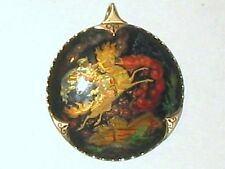 USSR 1972 Hand Painted Russian Black Lacquer Signed Pendant 14K Gold Frame