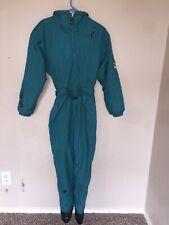Vintage Obermeyer Ski Jumpsuit Embroidery Teal Green Zip Belt Stirrups Hood 10