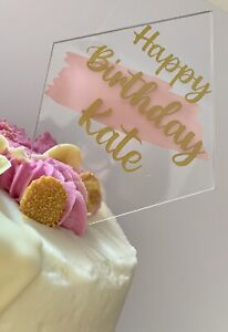 Personalised Acrylic Cake Topper..your Choice Of Wording And Colours,  Diamond