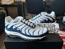 Nike Air Max 97 / Plus White Metallic Silver Shark Midnight Navy AH8144-100